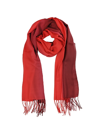 Mila Schon - Gradient Burgundy/Red Wool and Cashmere Stole