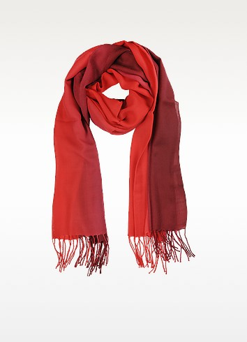 Gradient Burgundy/Red Wool and Cashmere Stole - Mila Schon