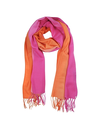 Gradient Fuchsia/Coral Wool and Cashmere Stole