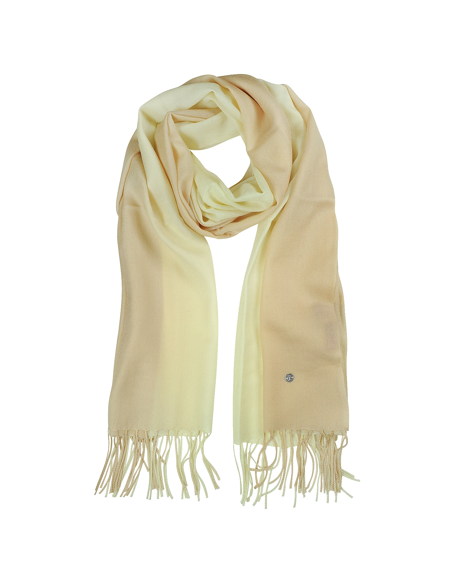 Mila Schon Long Scarves, Gradient Beige/Cream Wool and Cashmere Stole