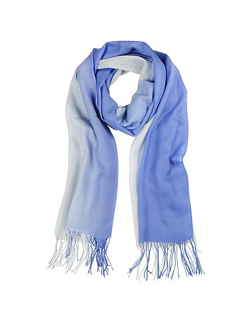 Mila Schon - Gradient Blue/Light Blue Wool and Cashmere Stole