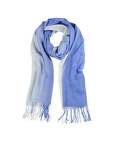 Gradient Blue/Light Blue Wool and Cashmere Stole - Mila Schon
