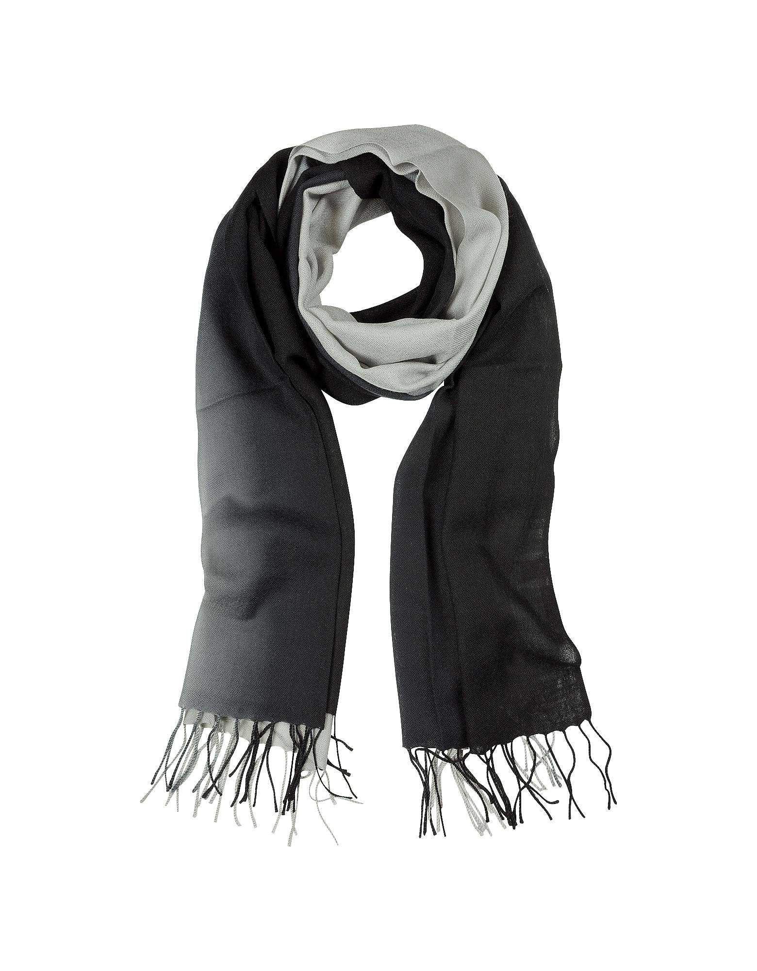 Градиентный Черно-Серый Палантин из Шерсти и Кашемира