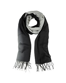 Gradient Black/Gray Wool and Cashmere Stole - Mila Schon