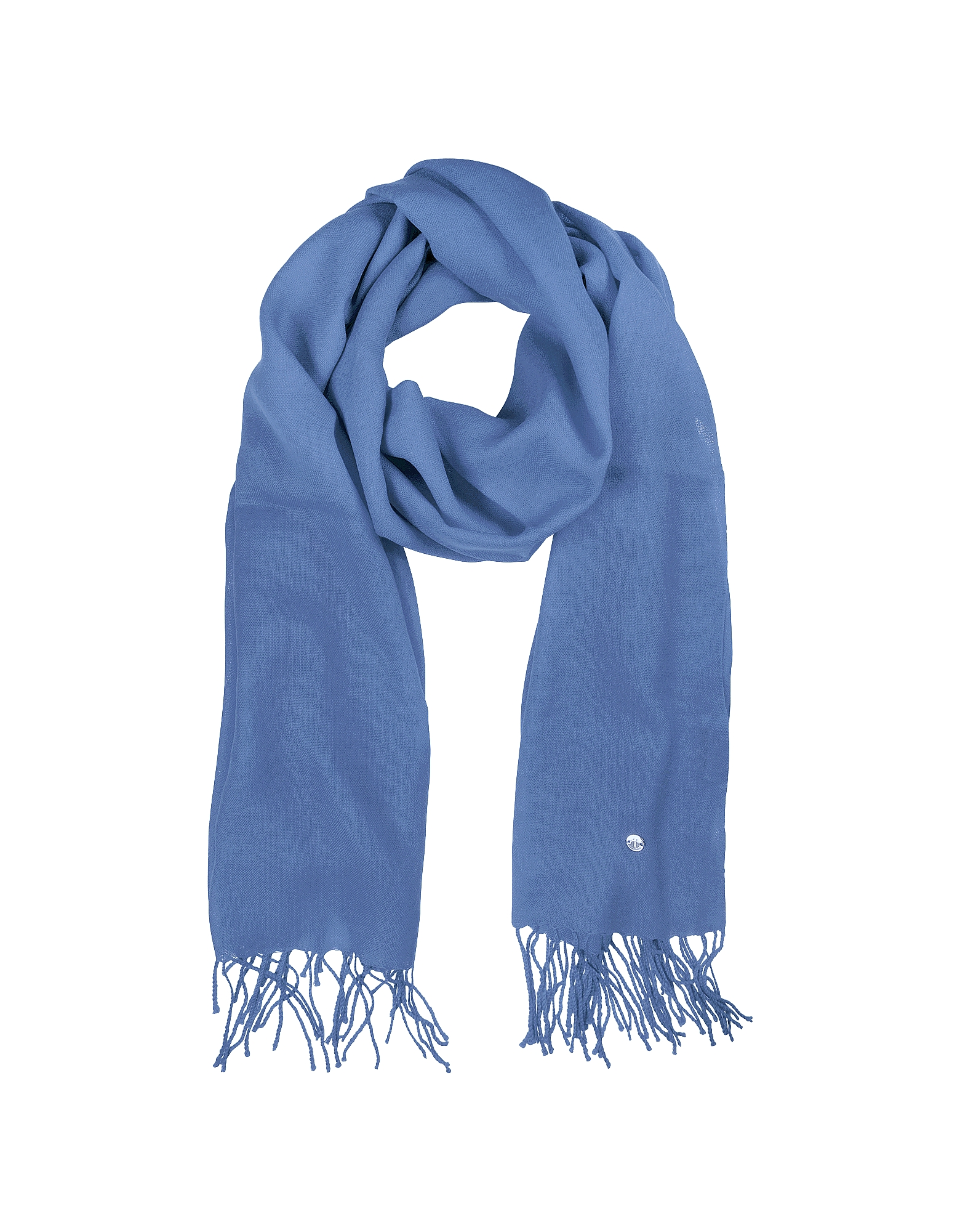 Mila Schon Long Scarves, Light Blue Wool and Cashmere Stole