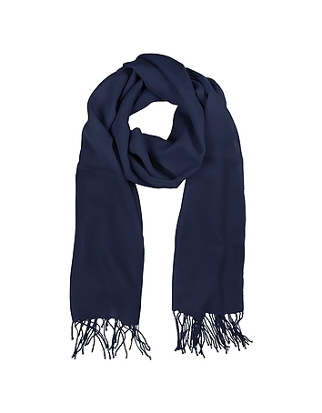 Mila Schon - Midnight Blue Wool and Cashmere Stole