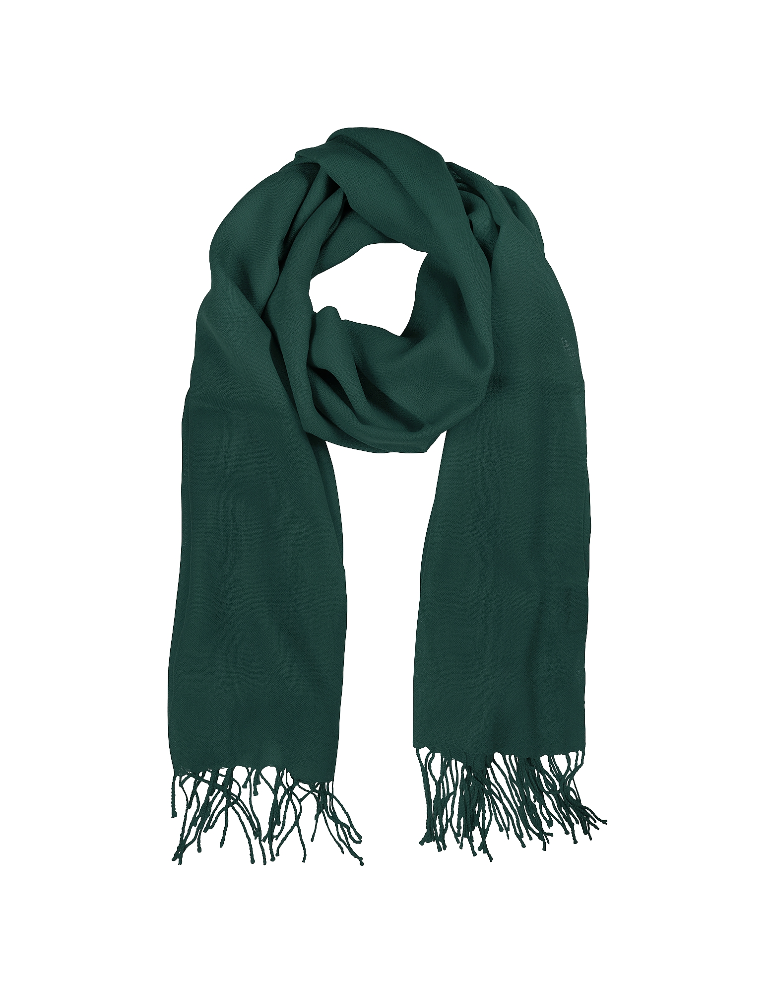 Mila Schon Long Scarves, Petrol Green Wool and Cashmere Stole