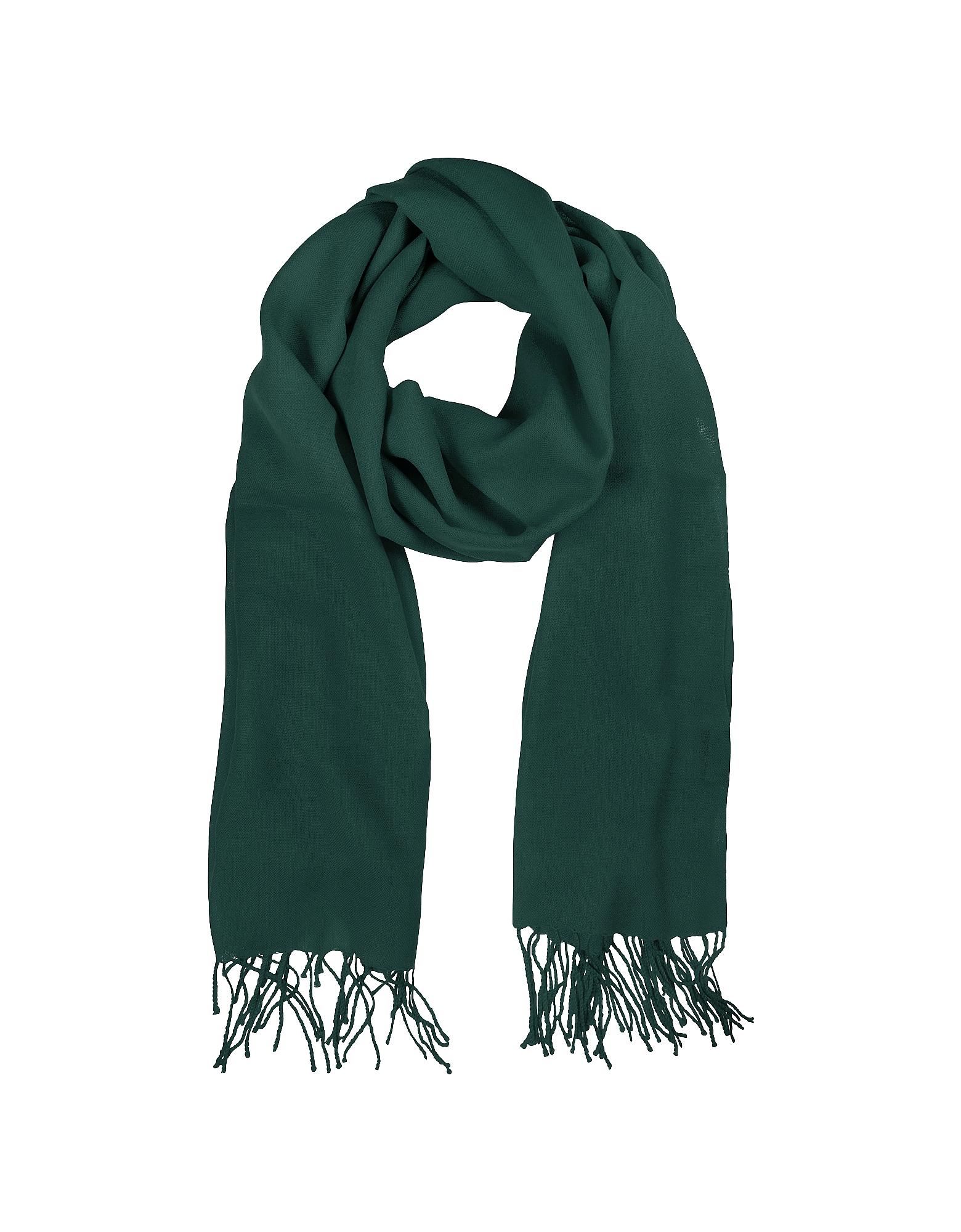 Mila Schon Зеленый Палантин из Шерсти и Кашемира