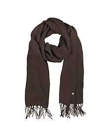 Dark Brown Wool and Cashmere Stole - Mila Schon