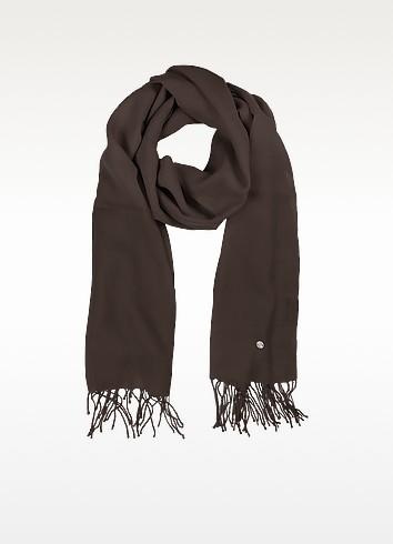 Dark Brown Wool and Cashmere Stole - Mila Schon