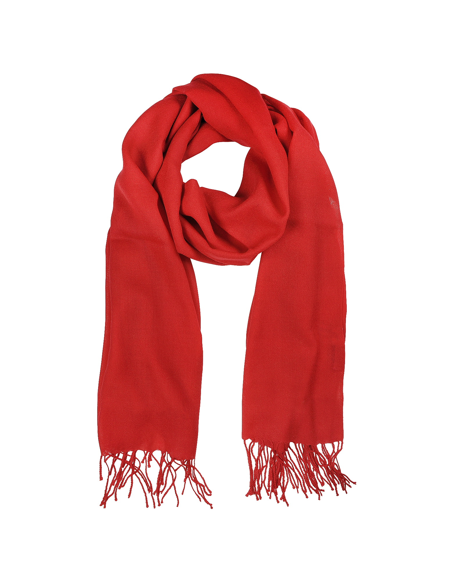 Mila Schon Scarves, Red Wool and Cashmere Stole