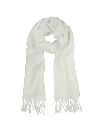 Mila Schon - White Wool and Cashmere Stole