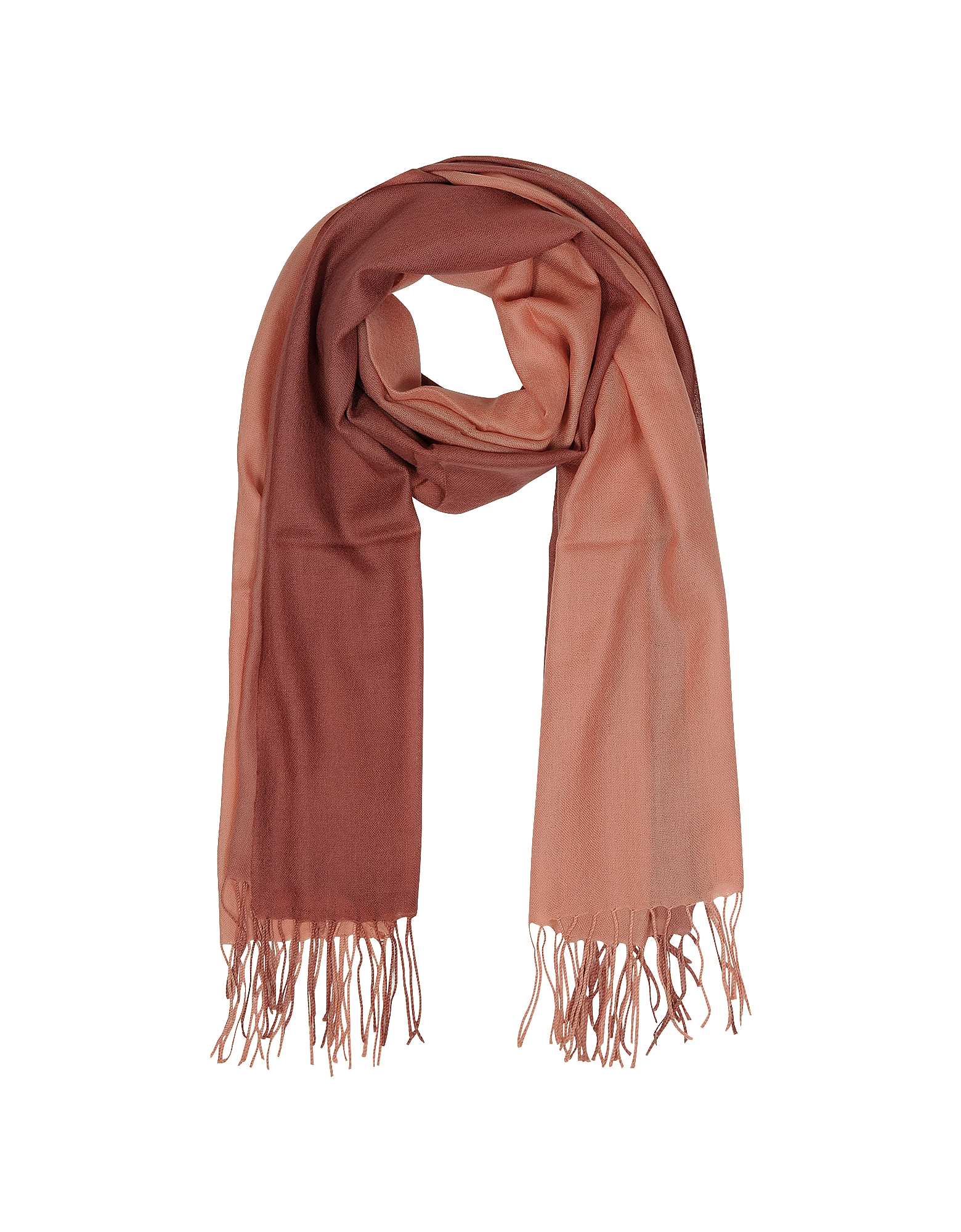 Mila Schon Long Scarves, Gradient Brick/Coral Wool and Cashmere Fringed Stole