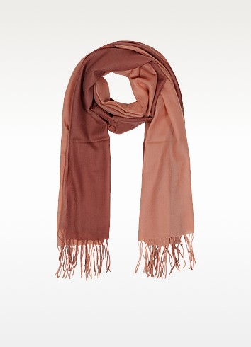 Gradient Brick/Coral Wool and Cashmere Fringed Stole - Mila Schon
