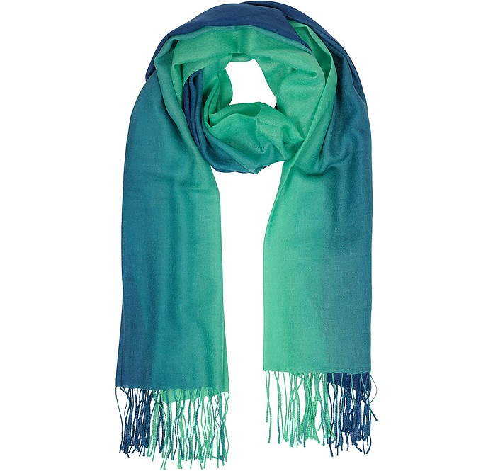 Gradient Blue/Green Wool and Cashmere Fringed Stole - Mila Schon