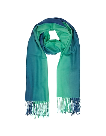 Mila Schon - Gradient Blue/Green Wool and Cashmere Fringed Stole