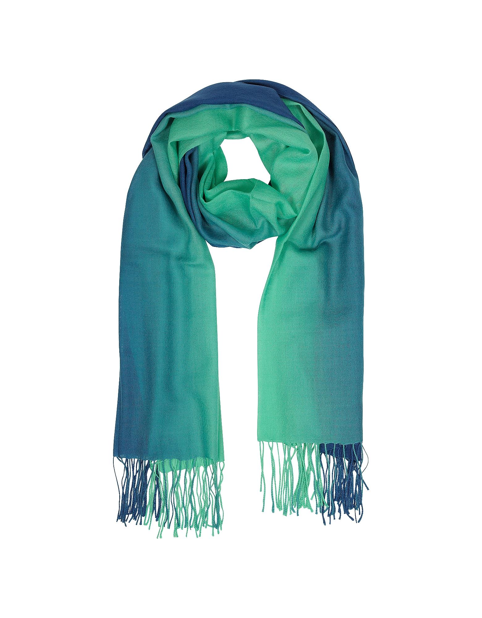 Палантин из Шерсти из Кашемира Градиентных Синего /Зеленого Оттенка с Бахромой