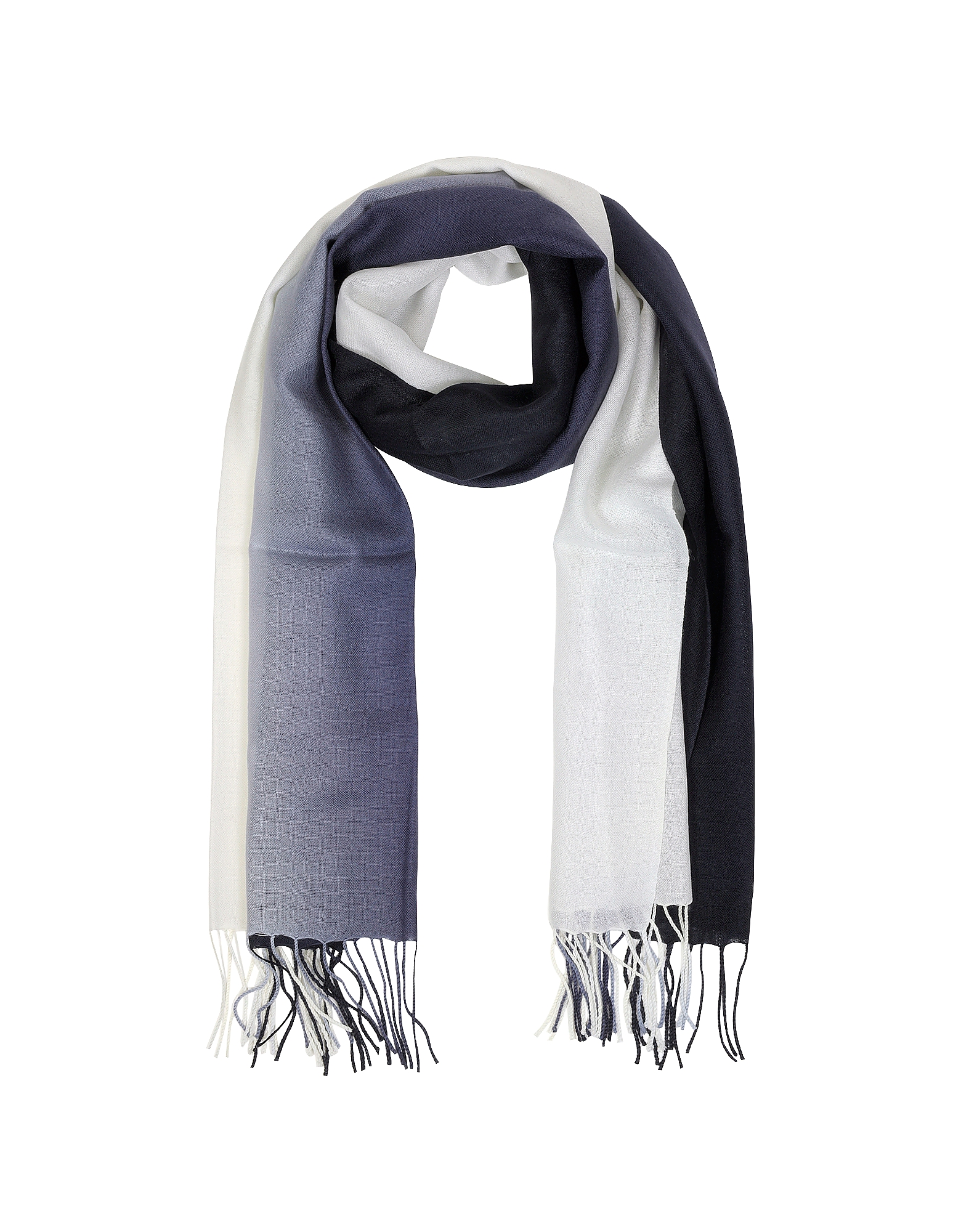 Mila Schon Long Scarves, Gradient White/Dark Blue Wool and Cashmere Fringed Stole