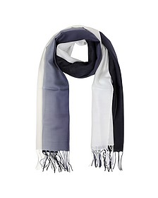 Gradient White/Dark Blue Wool and Cashmere Fringed Stole - Mila Schon