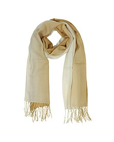 Gradient Beige/Camel Wool and Cashmere Fringed Stole - Mila Schon