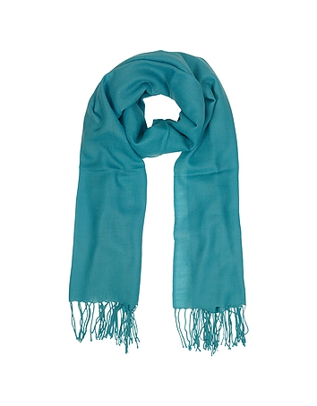 Mila Schon - Turquoise Wool and Cashmere Fringed Stole