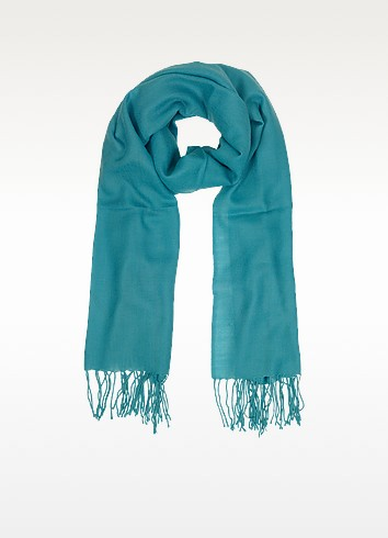 Turquoise Wool and Cashmere Fringed Stole - Mila Schon
