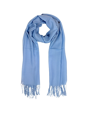 Mila Schon - Light Blue Wool and Cashmere Fringed Stole