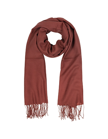 Mila Schon - Brick Red Wool and Cashmere Fringed Stole