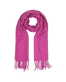 Raspberry Wool and Cashmere Fringed Stole - Mila Schon