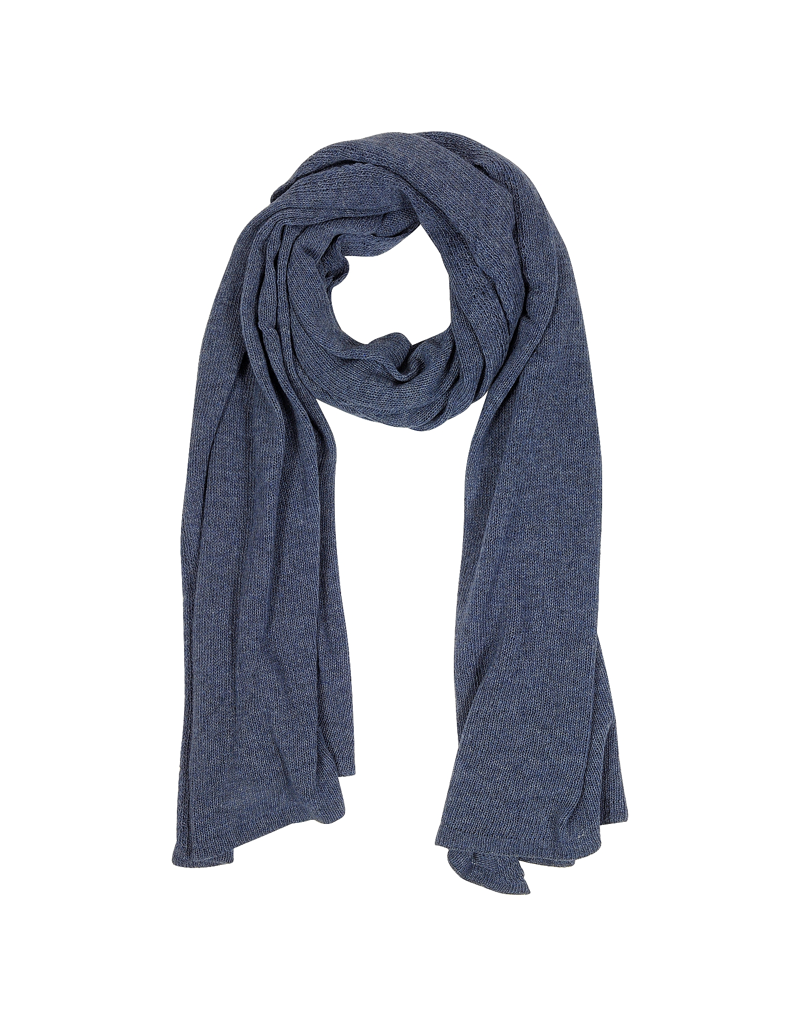 Solid Dark Blue Wool Blend Stole от Forzieri INT