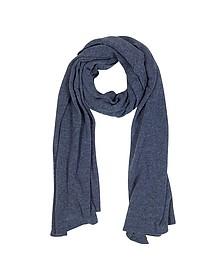 Solid Dark Blue Wool Blend Stole - Mila Schon