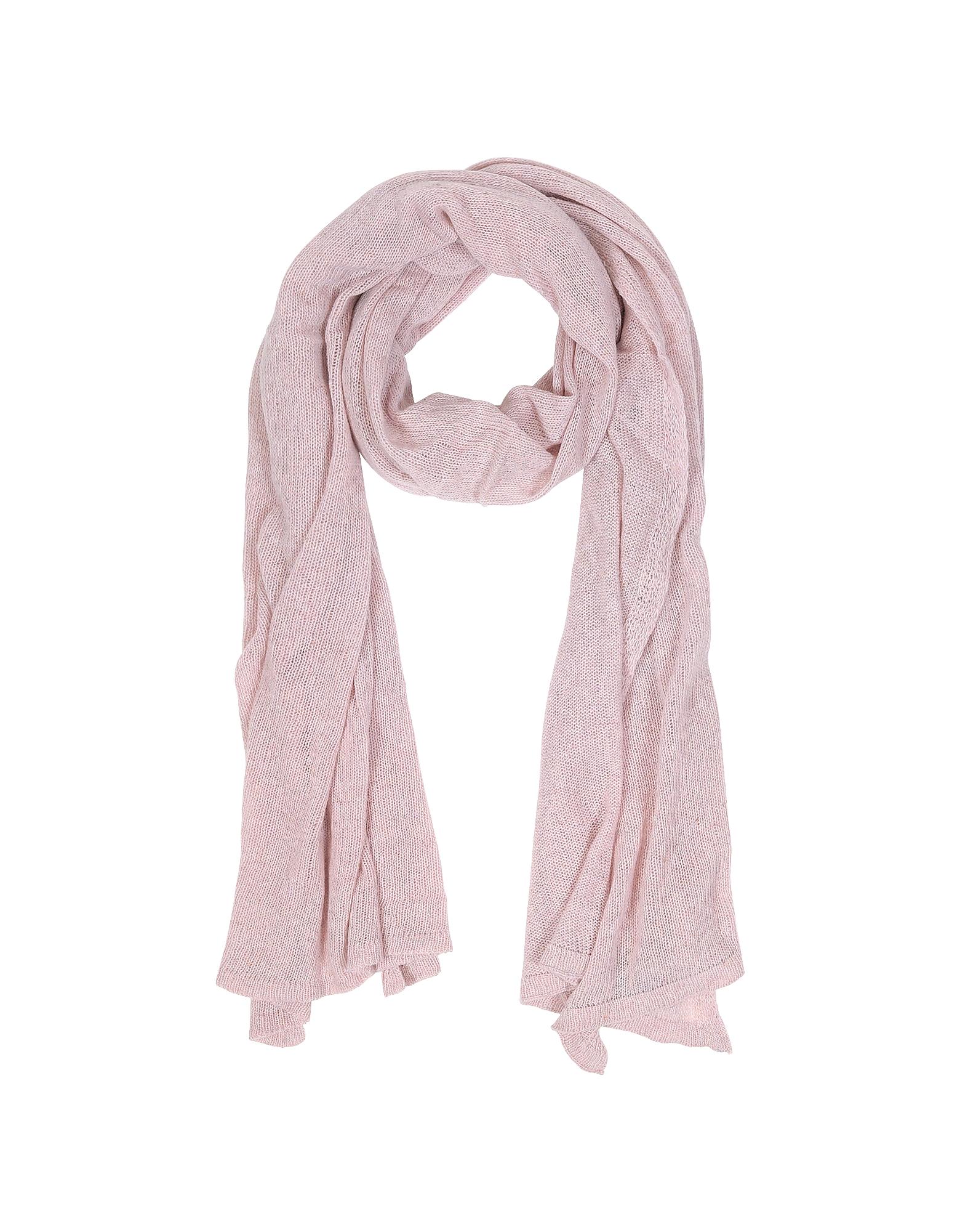 Mila Schon Однотонный Светло-розовый Палантин из Смеси Шерсти