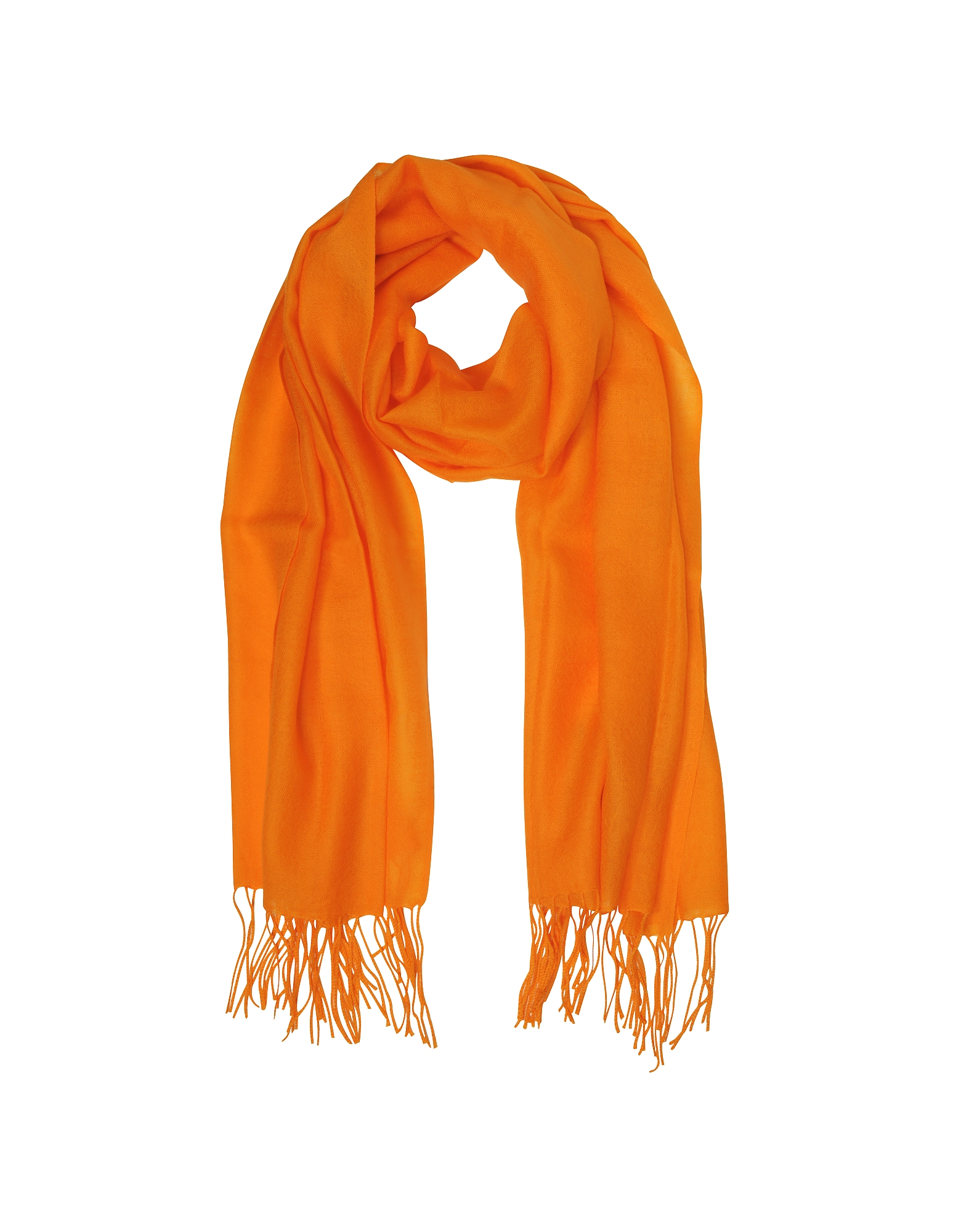 Mila Schon Long Scarves, Orange Wool and Cashmere Fringed Stole