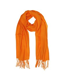 Orange Wool and Cashmere Fringed Stole - Mila Schon