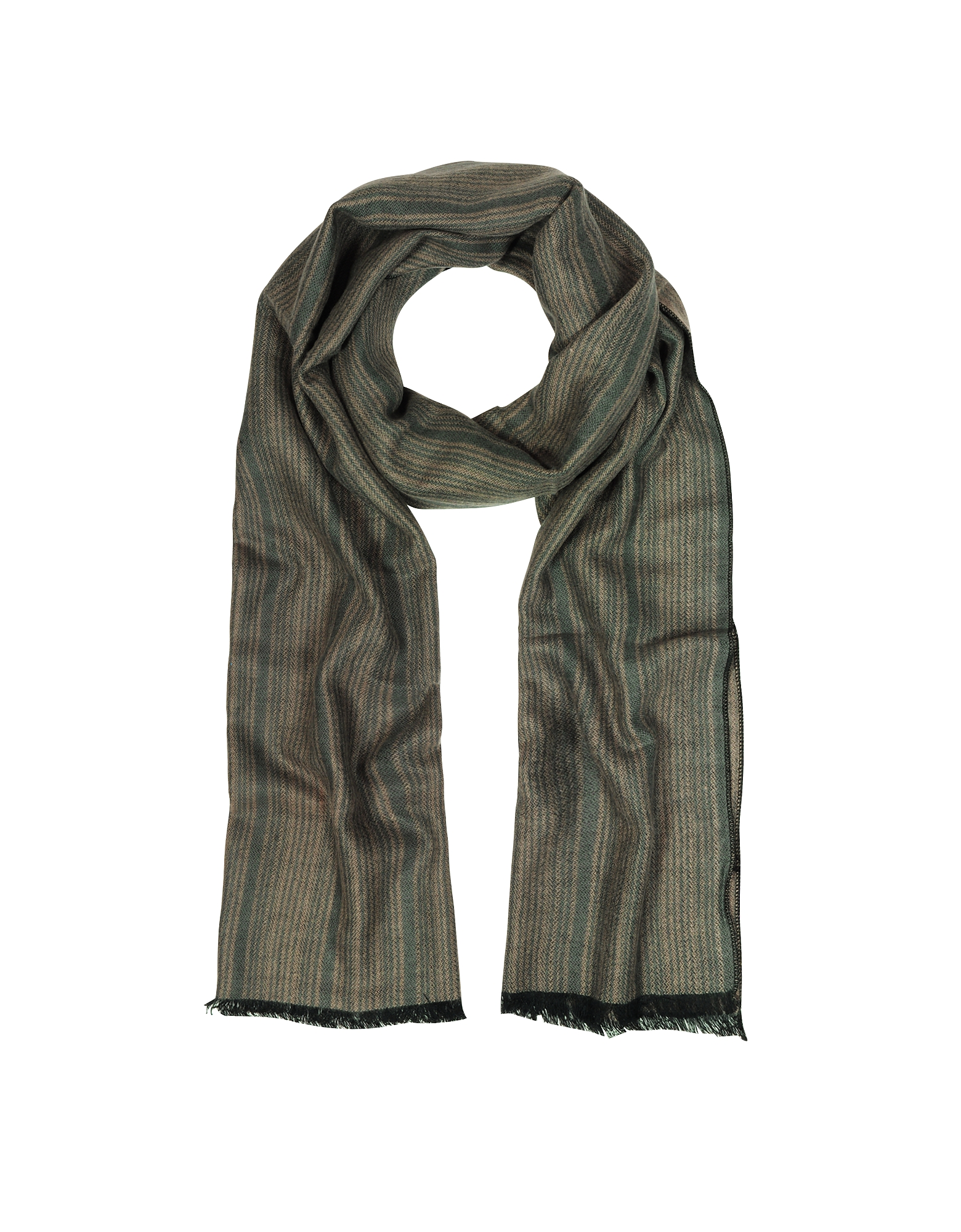 Mila Schon Long Scarves, Khaki Stripe Wooden Fiber Fringed Long Scarf