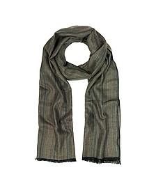 Khaki Stripe langer Schal mit Fransen - Mila Schön