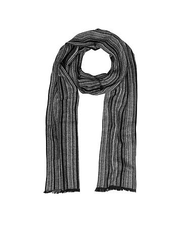 Mila Schon - Black & Gray Stripe Wooden Fiber Fringed Long Scarf