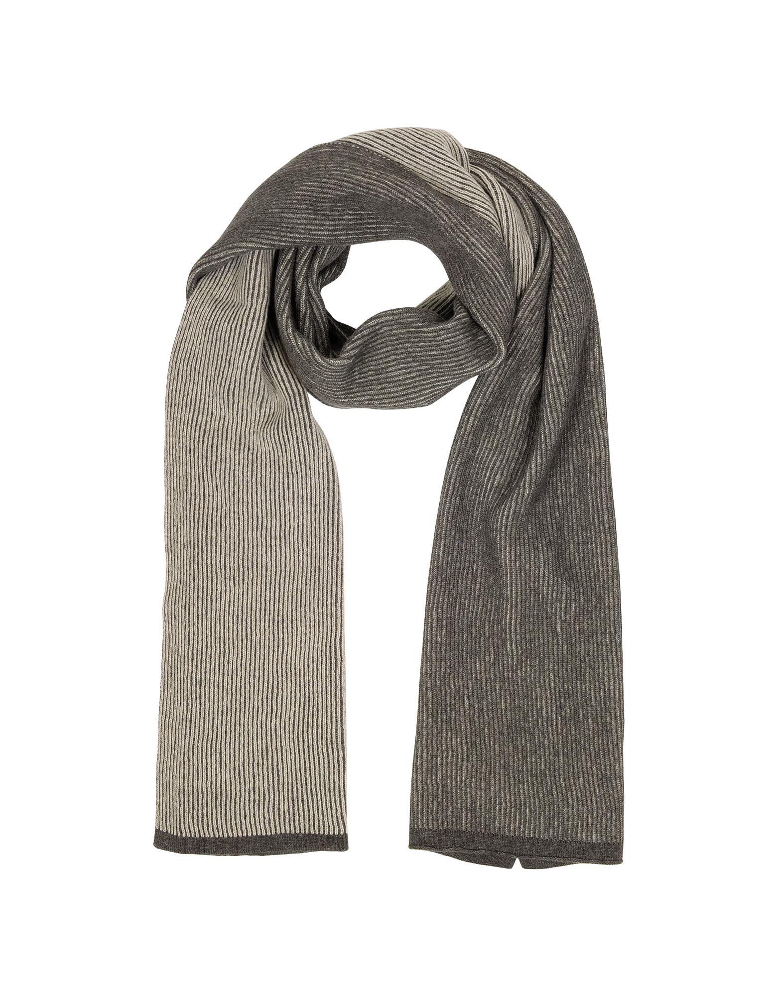 Image of Beige/Brown Stripe Wool Blend Long Scarf