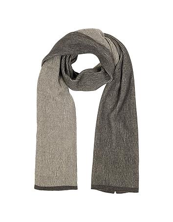 Mila Schon - Beige/Brown Stripe Wool Blend Long Scarf