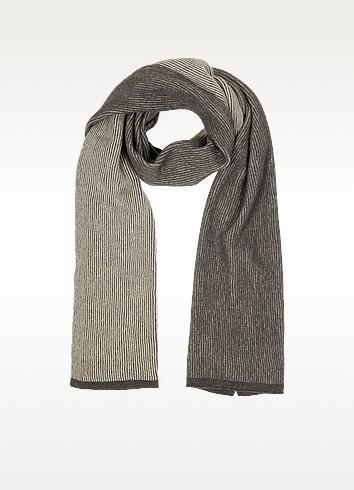 Beige/Brown Stripe Wool Blend Long Scarf - Mila Schon