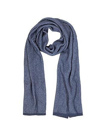 Mila Schon - Blue/Light Blue Stripe Wool Blend Long Scarf