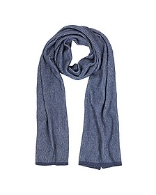 Blue/Light Blue Stripe Wool Blend Long Scarf - Mila Schon