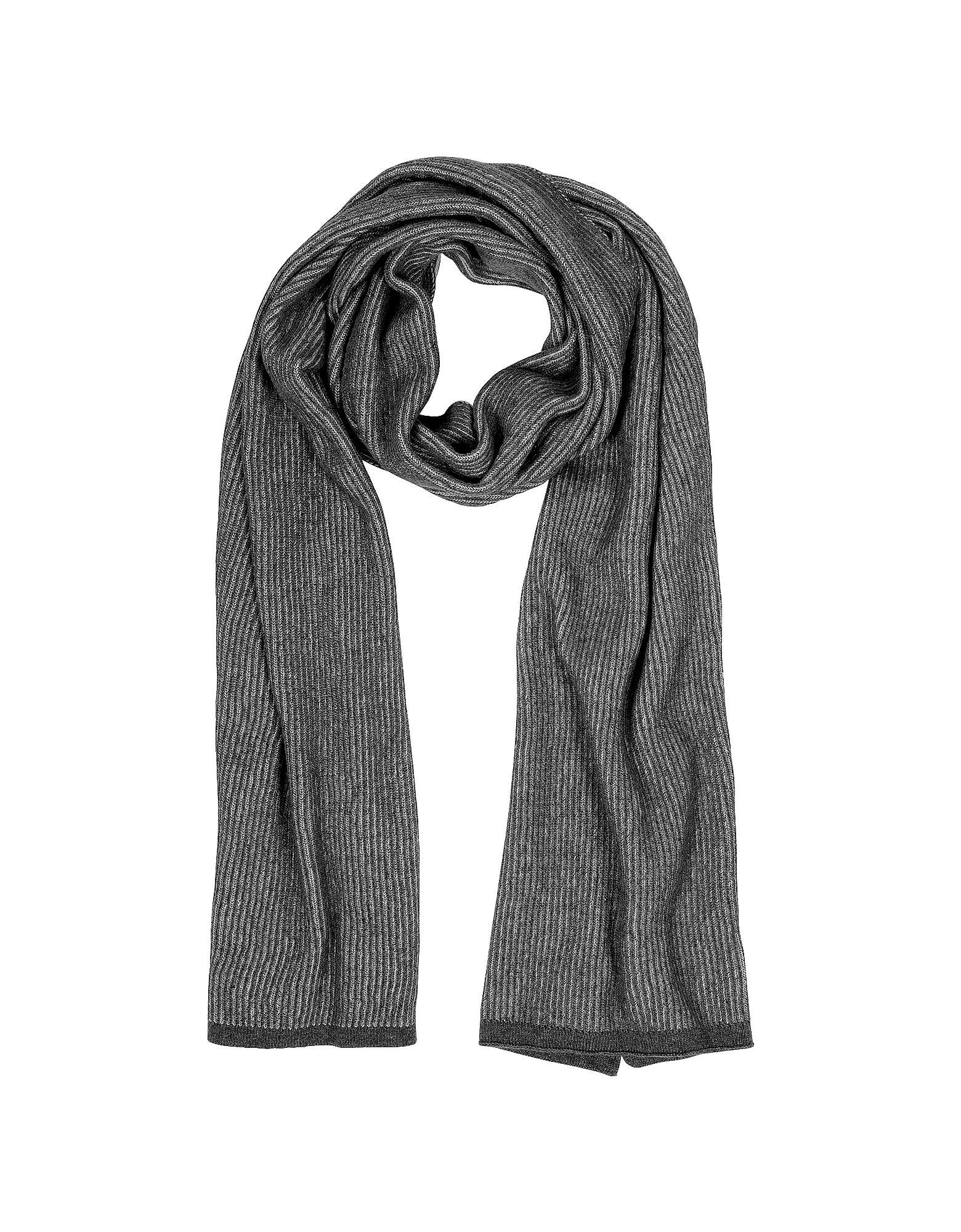 Mila Schon Scarves, Gray/Black Stripe Wool Blend Long Scarf