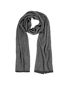 Gray/Black Stripe Wool Blend Long Scarf - Mila Schon