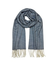 Herringbone Cashmere, wool and Silk Fringed Long Scarf - Mila Schon