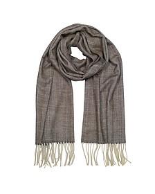 Herringbone langer Schal aus Kaschmir, Wolle und Seide mit Fransen - Mila Schön