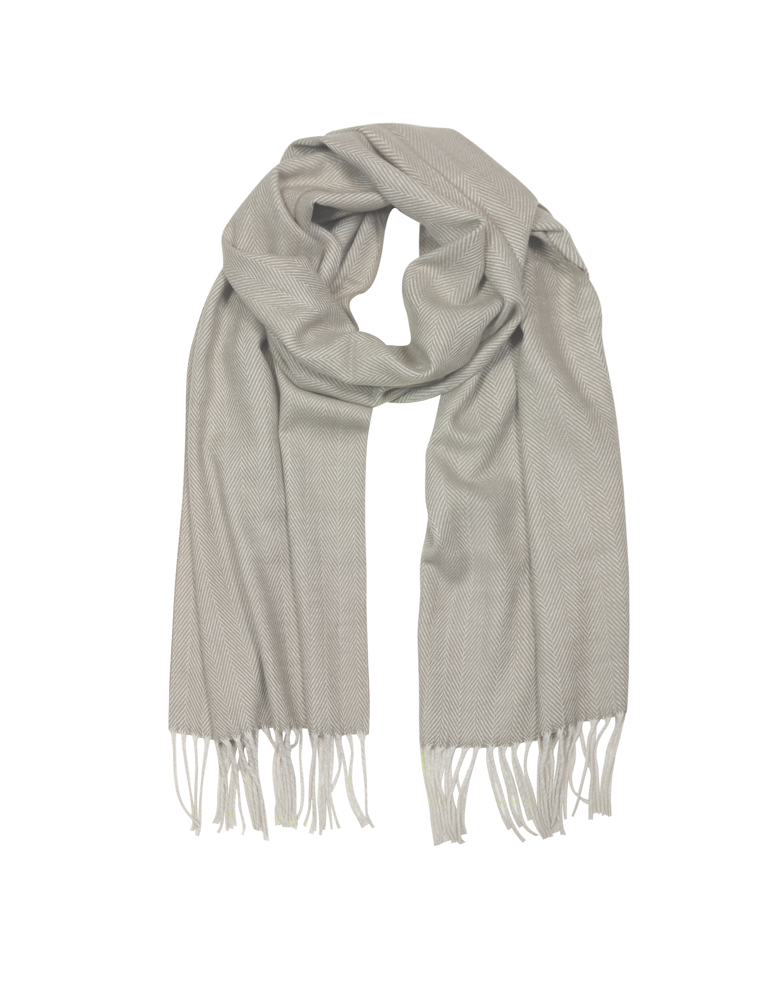 Mila Schon Long Scarves, Herringbone Cashmere, wool and Silk Fringed Long Scarf