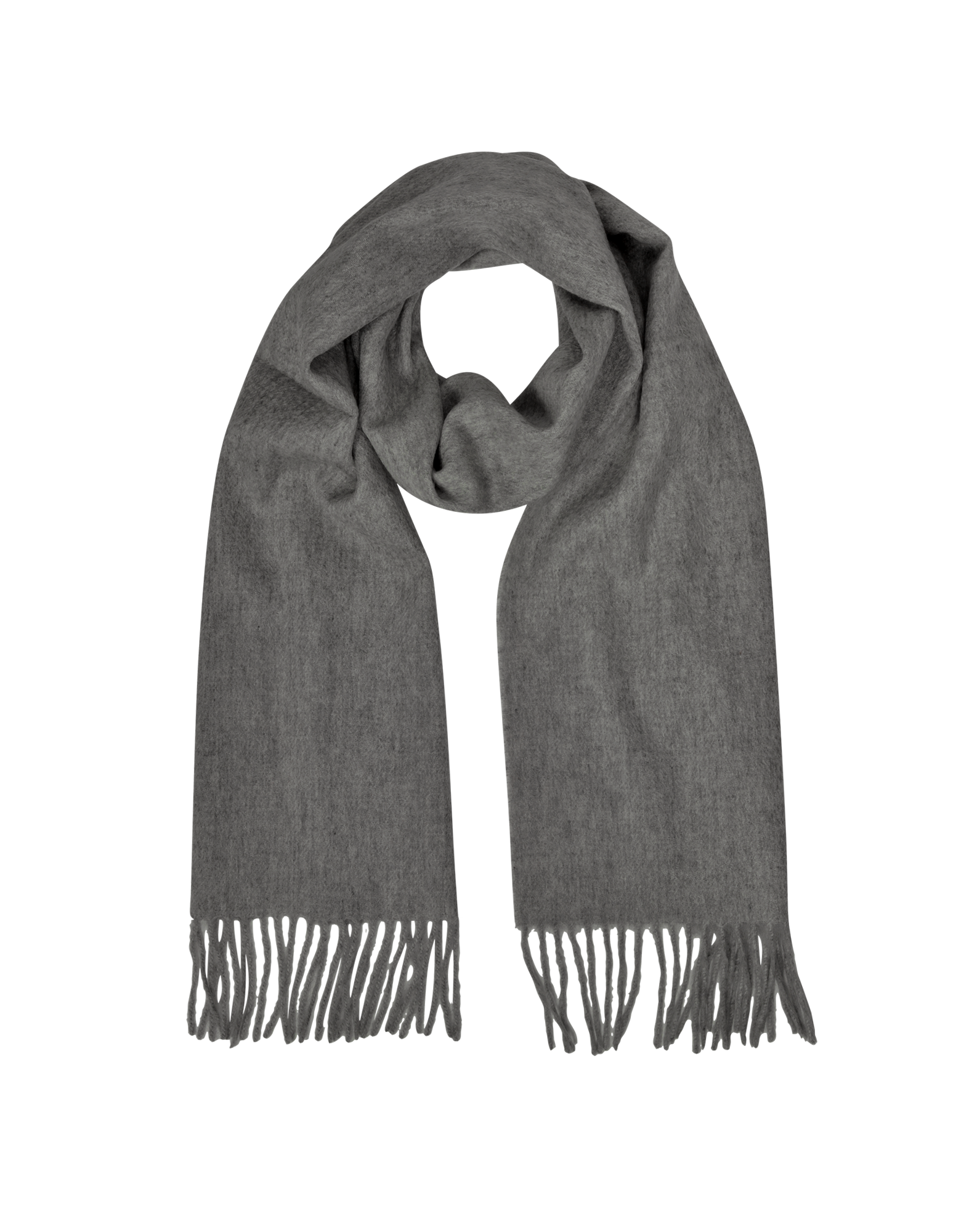 Image of Cashmere and Wool Dark Gray Fringed Long Scarf
