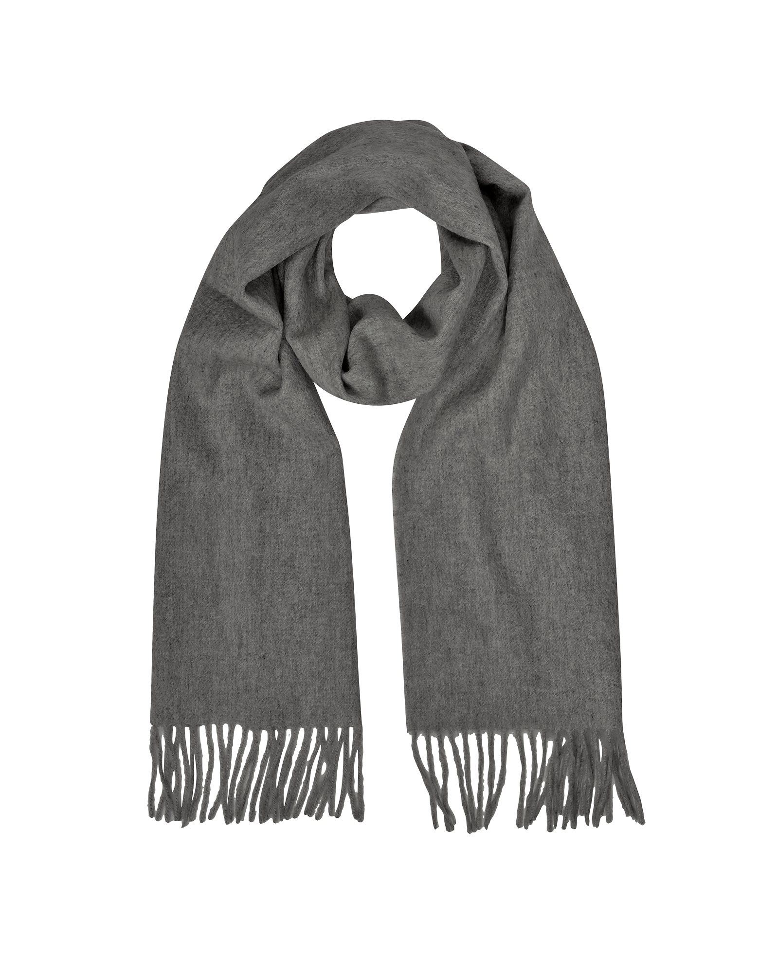 Cashmere and Wool Dark Gray Fringed Long Scarf