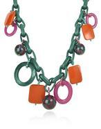 I Bijoux Di Simonetta  Green Chain Charms Necklace